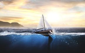 Picture sea, boat, hand