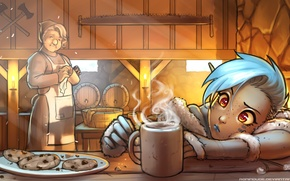Picture grandma, cookies, cook, fireplace, elf, saw, Art, axes, elf, tavern, hot drink, Climbing, A Warm …
