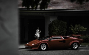 Picture girl, red, house, dog, Lamborghini, red, girl, house, dog, Lamborghini, countach