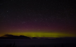 Picture space, stars, clouds, mountain, Northern lights, hill, secrets