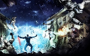 Picture stars, station, Star Wars, Star wars, The Force Unleashed, Jedi, lightsaber, cruisers, clones, stormtroopers, star …