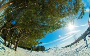 Picture winter, fisheye, Winter landscape, pulls, fisheye