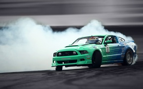 Picture Mustang, Ford, Drift, Smoke, Tuning, Hawks, Competition, Sportcar