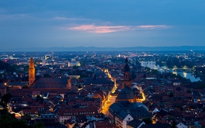 Picture sunset, the city, home, the evening, Germany, panorama, street, Germany, Heidelberg, Heidelberg