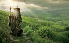 Picture grass, hills, The Lord of the rings, path, The Lord of the Rings, the wizard, …