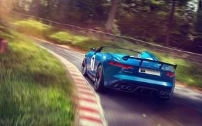 Picture car, Concept, Jaguar, supercar, road, auto, blue, speed, Project 7