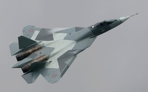 Picture The sky, Clouds, Flight, Fighter, Height, T-50, Multipurpose, Dry, Generation, Fifth, Russian, PAK FA