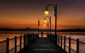 Picture sea, sunset, lights, pierce, the bridge