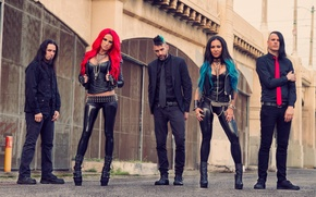 Picture wall, group, metalcore, multi-colored hair, red tie, Heidi Shepherd, Charles Harvey, butcher babies, punk metal, …