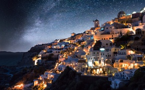 Picture stars, night, the city, lights, Greece, the milky way