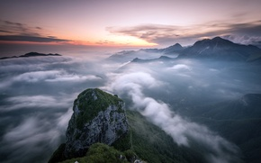 Picture sunset, mountains, obloka