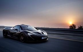 Picture McLaren, Sunset, Road, Black, Speed, McLaren, Car, Speed, Black, Supercar, Evening, Road, Supercar, 2014