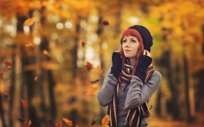 Picture autumn, girl, hat, scarf, sweater, bokeh