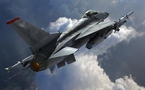 Picture art, F-16, Fighting Falcon, General Dynamics, Fighting Falcon
