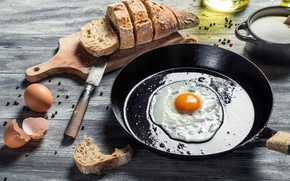 Picture bread, scrambled eggs, shell, pan