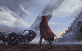 Picture girl, red, ship, art, motorcycle, facilities, tower, cloak