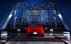 Picture night, Red, Auto, Bridge, Dodge, Dart