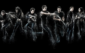 Picture Max, Peter, Zoe Kravitz, Miles Teller, Caleb, weapon, gun, pistol, Ansel Elgort, film, cinema, Christina, …