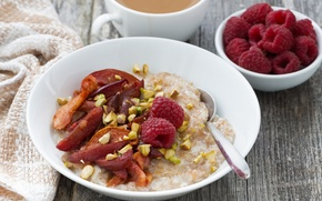 Wallpaper Breakfast, dried fruits, raspberry, raspberry, porridge, dried fruits, porridge, Breakfast