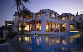 Picture house, palm trees, Villa, the evening, pool, chairs, house, pool, room, home, villa, exterior, furniture., …