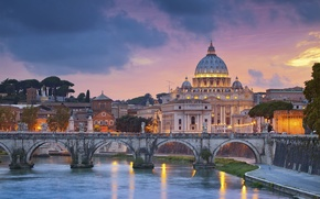 Picture the sky, clouds, landscape, bridge, home, the evening, Rome, Italy, Tiber river, St. Peter's Cathedral