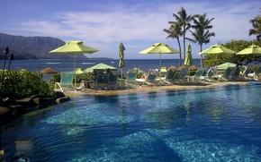 Picture sea, palm trees, view, pool, umbrellas