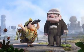 Picture cartoon, up, cartoon, boy, the old man, grandpa