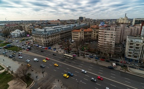 Picture road, street, building, panorama, road, cars, panorama, street, Romania, Romania, Bucharest, cars, Bucharest