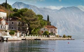 Picture sea, mountains, rocks, coast, home, Montenegro, Perast