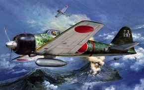 Picture figure, art, Mitsubishi, Zero, A6M, Japanese light carrier-based fighter