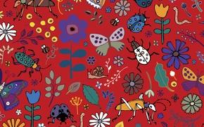 Picture texture, Butterflies, beetles, blooms
