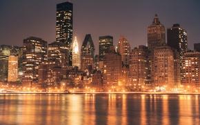 Picture USA, United States, river, design, New York, Manhattan, NYC, New York City, Skyline, glow, view, …