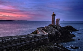 Picture sea, the sky, sunset, rock, France, lighthouse