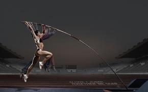 Picture pole, advertising, girl, Pole vault, Adidas, jump, athlete