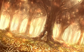 Picture forest, girl, nature, art, bounin