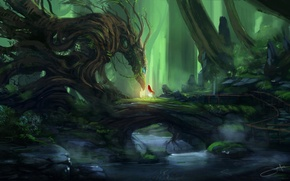 Picture forest, girl, trees, stream, stones, dragon, art, red, Blinck, the guardian
