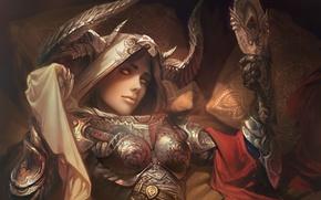 Wallpaper demon hunter, the demon, diablo, hunter, art, girl, rpg, horns