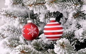 Picture balls, snow, toys, tree, new year, Christmas, spruce, decoration