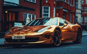 Wallpaper Ferrari, Italy, Ferrari, Gold, 458, Front, Supercar, Before, Italia, Supercar, Gold