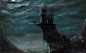 Picture the moon, night, art, wolf, fantasy, evil castle, castle