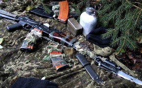 Picture machine, disguise, camouflage, still life, stores, Kalash, bayonet, the AKS-74, jar