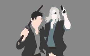 Picture sword, gun, pistol, game, minimalism, weapon, anime, katana, man, ken, face, blond, asian, suit, manga, …