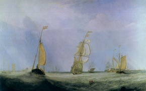 Picture picture, ships, Going to Sea, The City of Utrecht, sea, wave, William Turner, seascape, sail