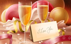 Wallpaper i love you, champagne, glasses, the inscription