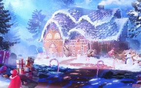 Picture snow, holiday, art, gifts, lollipops, house, Merry Christmas