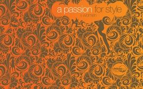 Wallpaper pattern, girls, orange