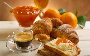 Picture leaves, table, coffee, food, oranges, petals, plate, bread, mug, Cup, jam, jam, croissants
