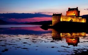 Picture the sky, water, sunset, clouds, reflection, castle, the evening, backlight, Scotland