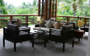 Wallpaper travel, stay, Wallpaper, interior, pillow, the hotel, sofas, veranda, Hainan island