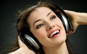 Picture joy, headphones, brown hair, brown-eyed